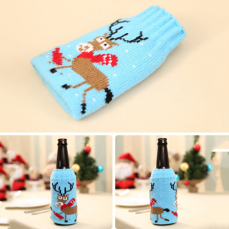 Christmas Snowman Deer Knitting Stockings Candy Gift Bags Beer Wine Bottle Cover Set Christmas Decor