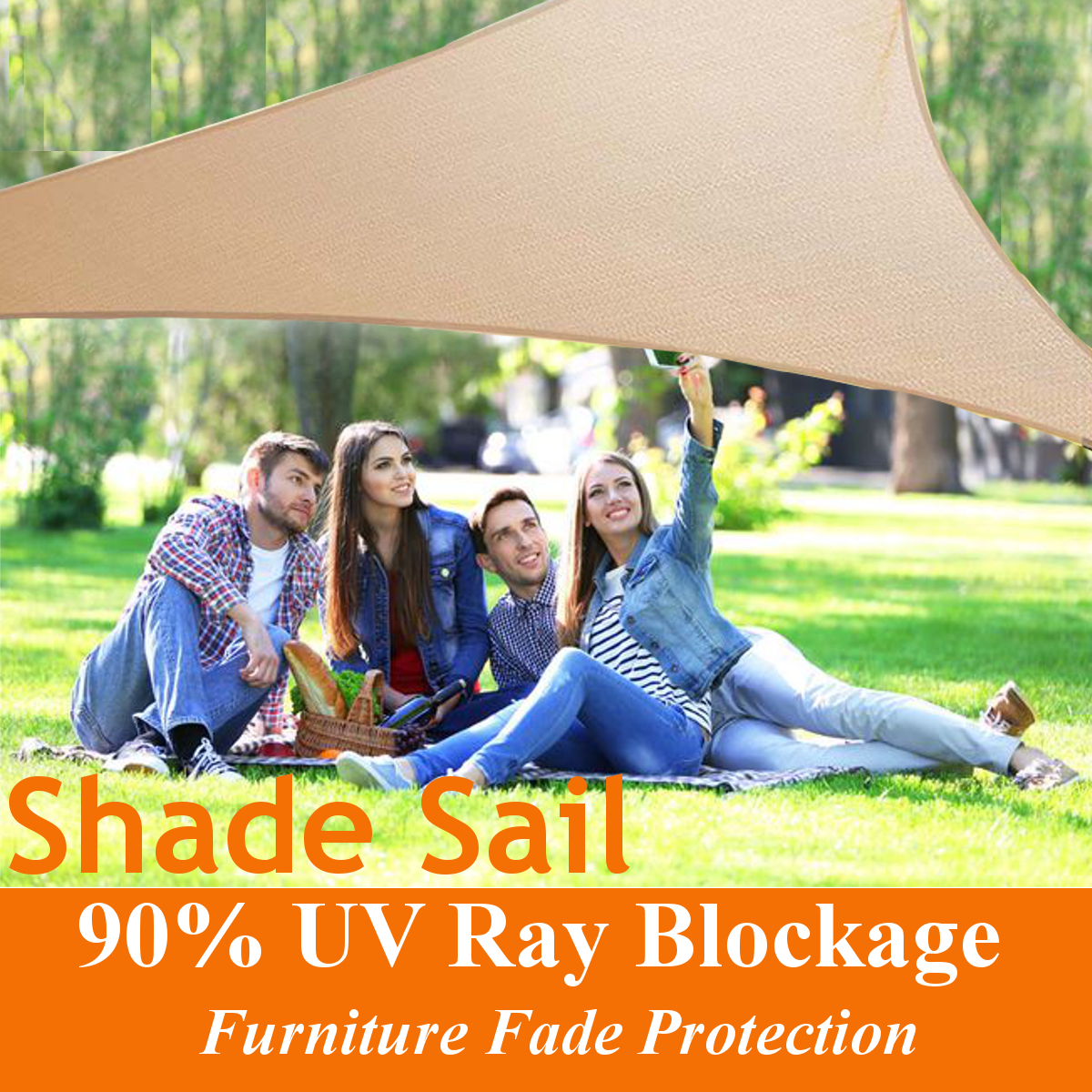 Outdoor Sun Shade Sails Canopy Patio Garden Awning Shelter UV Proof With Rope PE Cloth