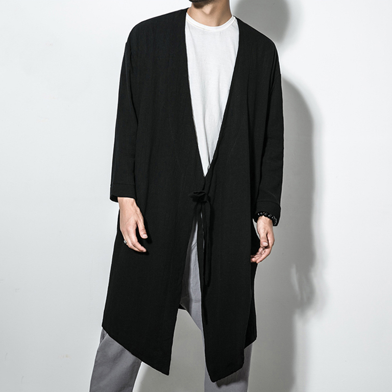 TWO-SIDED Mens Drawstring Cotton Solid Color Mid-long Jacket
