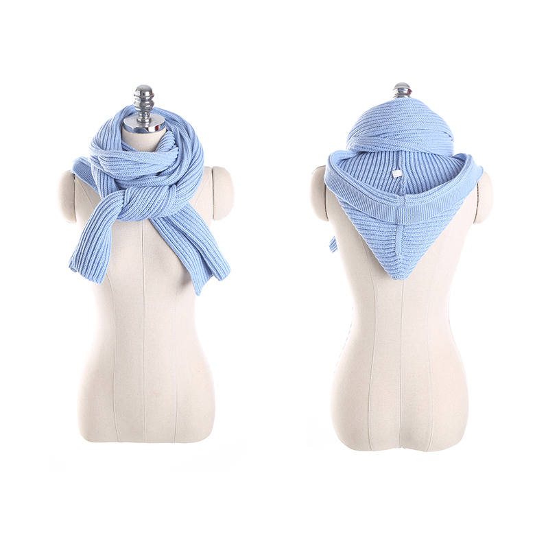 Women Winter Warm Knitted Hooded Scarf Casual Soft Crochet Shawl Conjoined Cap