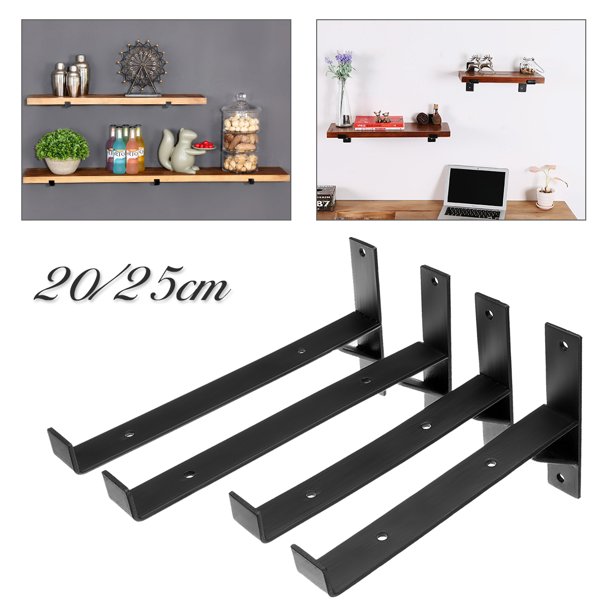 20/25cm Iron Scaffold Board Wall Mounted Shelf Bracket Bathroom Shower Storage Vintage Black Shelf