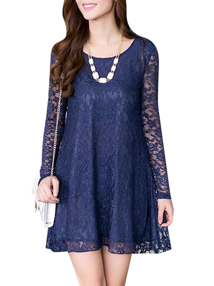 Plus Size Casual Lace Patchwork Long Sleeve Loose Dress