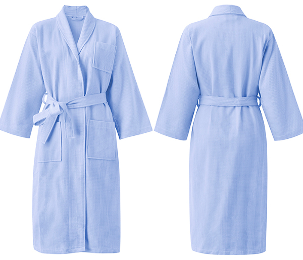 Comfy Cotton Bathrobe Pure Color Long Cardigan Sleepwear For Men Women Couples