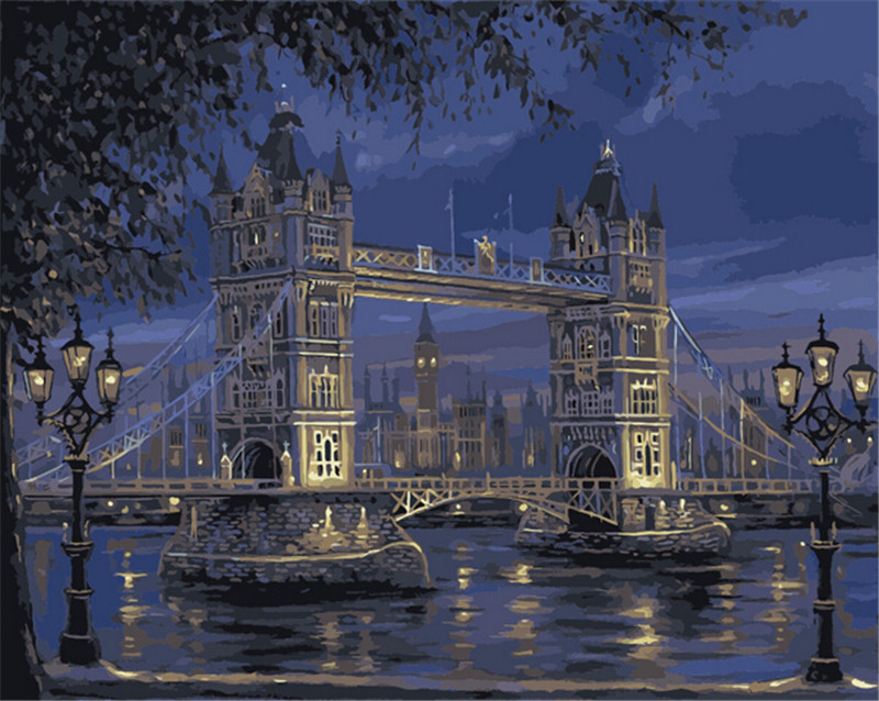 DIY Oil Painting By Numbers London Bridge Digital Oil Painting Kits Frameless Canvas Home Wall Decor 40x50cm