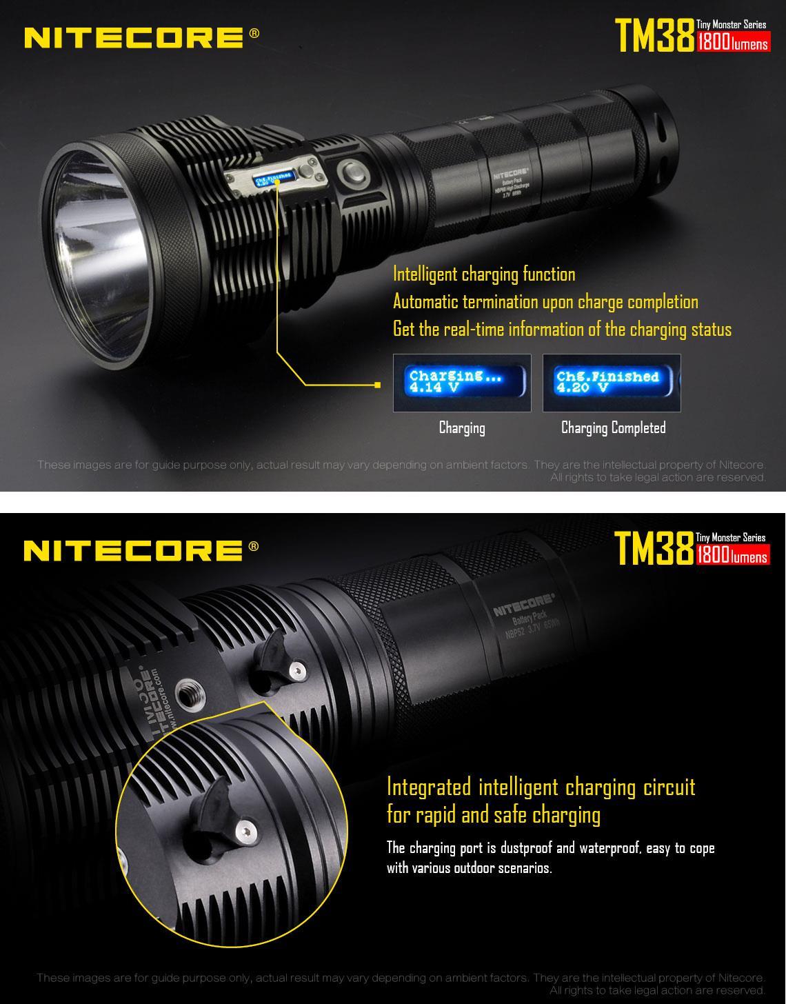 Nitecore TM38 Tiny Monster XHP35 HI D4 1800LM Rechargeable Super Bright LED Flashlight 1400M