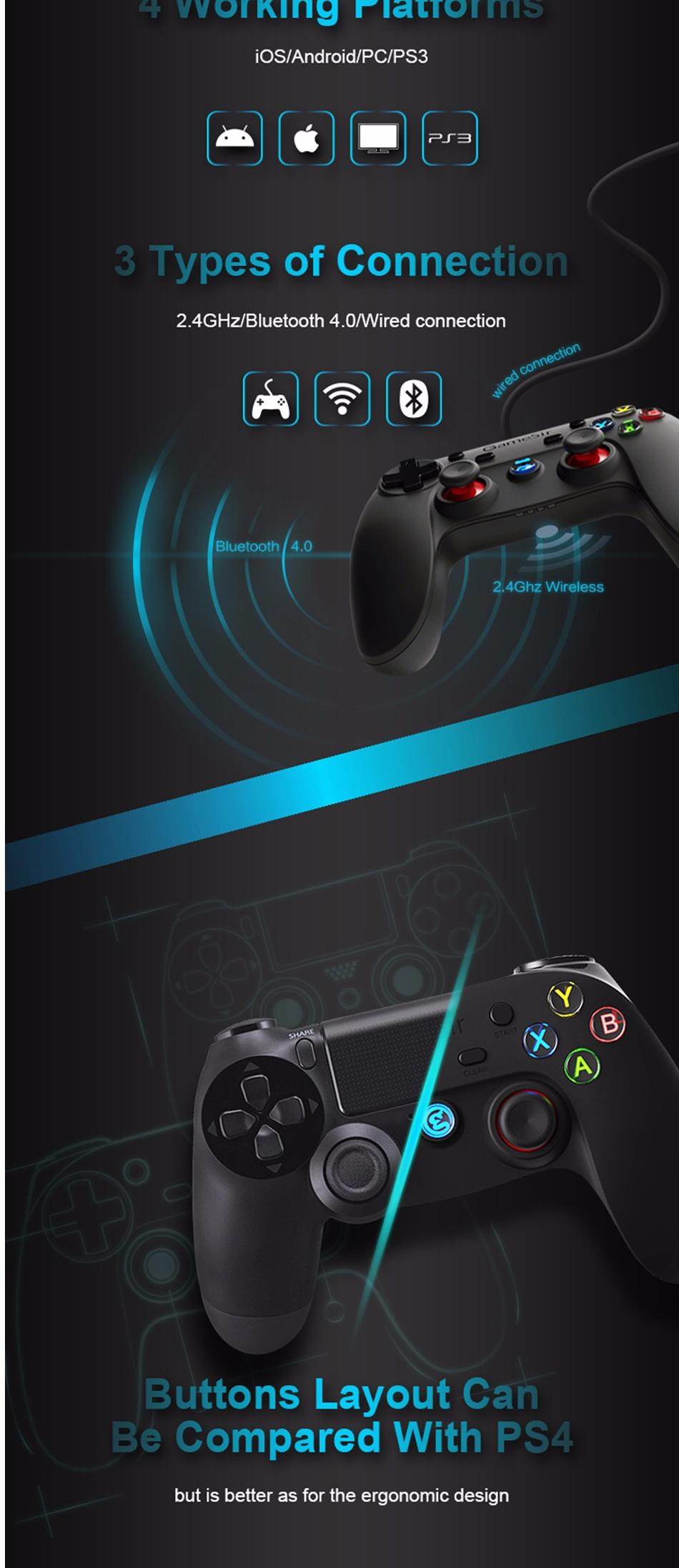 GameSir G3S bluetooth 2.4G Wireless Rechargeable Gamepad Game Controller Joystick