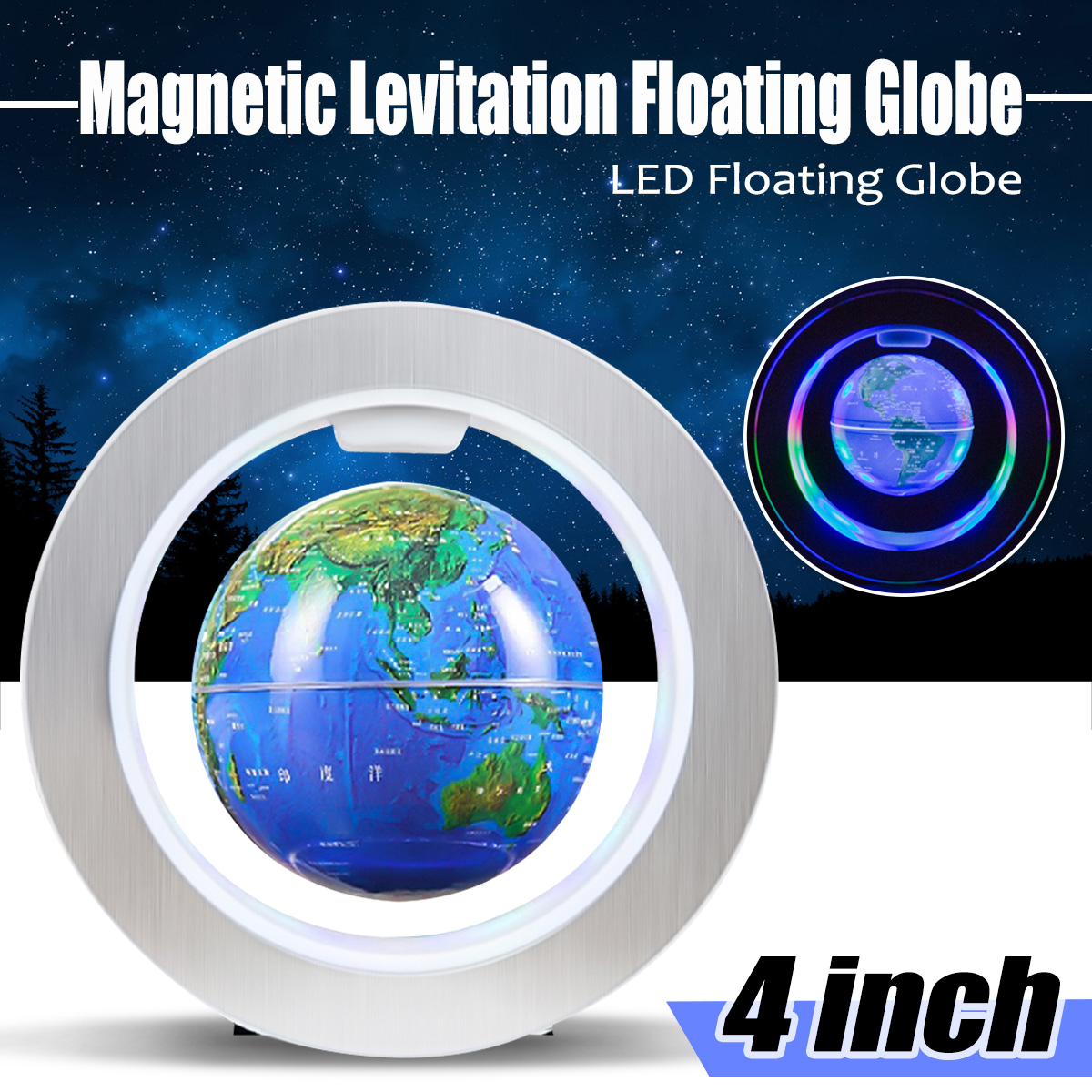 Magnetic Levitation Floating Globe World Map LED Educational Toys Christmas Gift