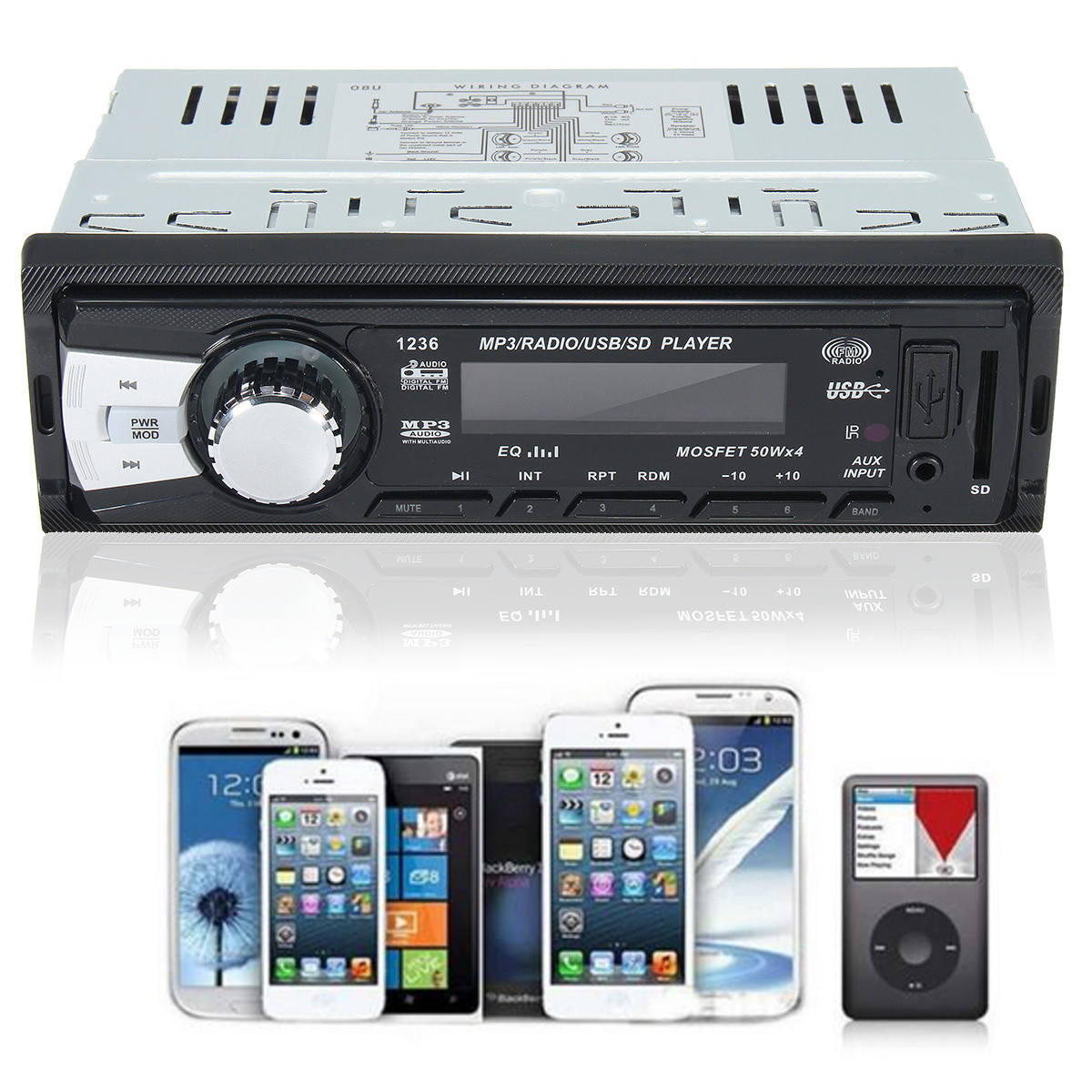 12V Auto Stereo Audio In-Dash Aux Input Receiver SD USB FM Radio Car MP3 Player