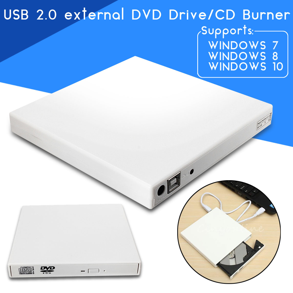 USB 2.0 External Combo Optical Drive CD/DVD Player Burner for PC