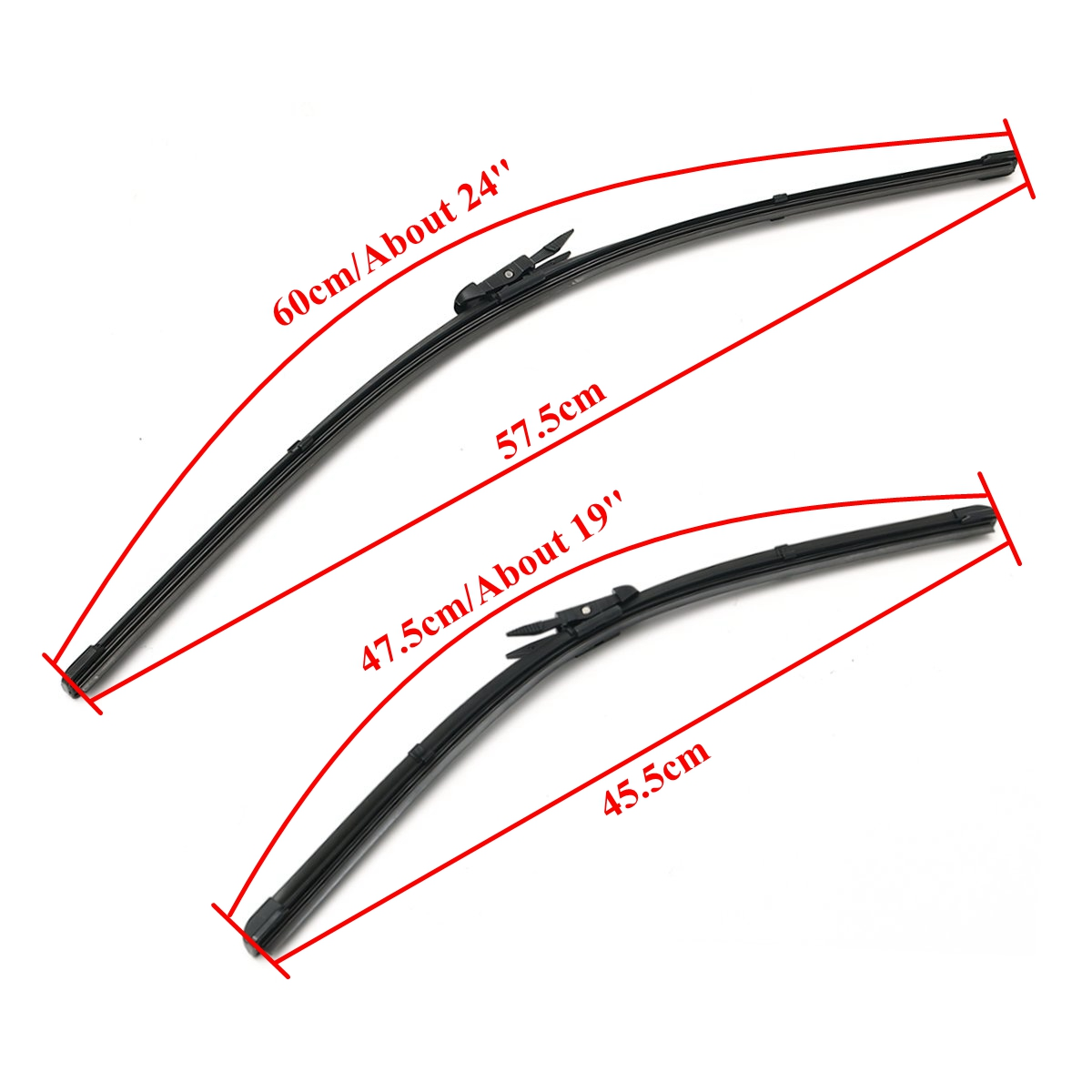Pair 24 Inch +19 Inch Front Windscreen Wiper Blades Set For AUDI A3 2004-2012 RHD Vehicle