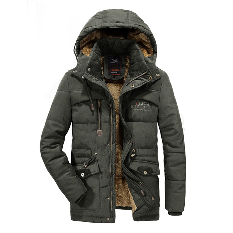 Mens Thick Multi Pockets Windproof Detachable Hooded Jacket
