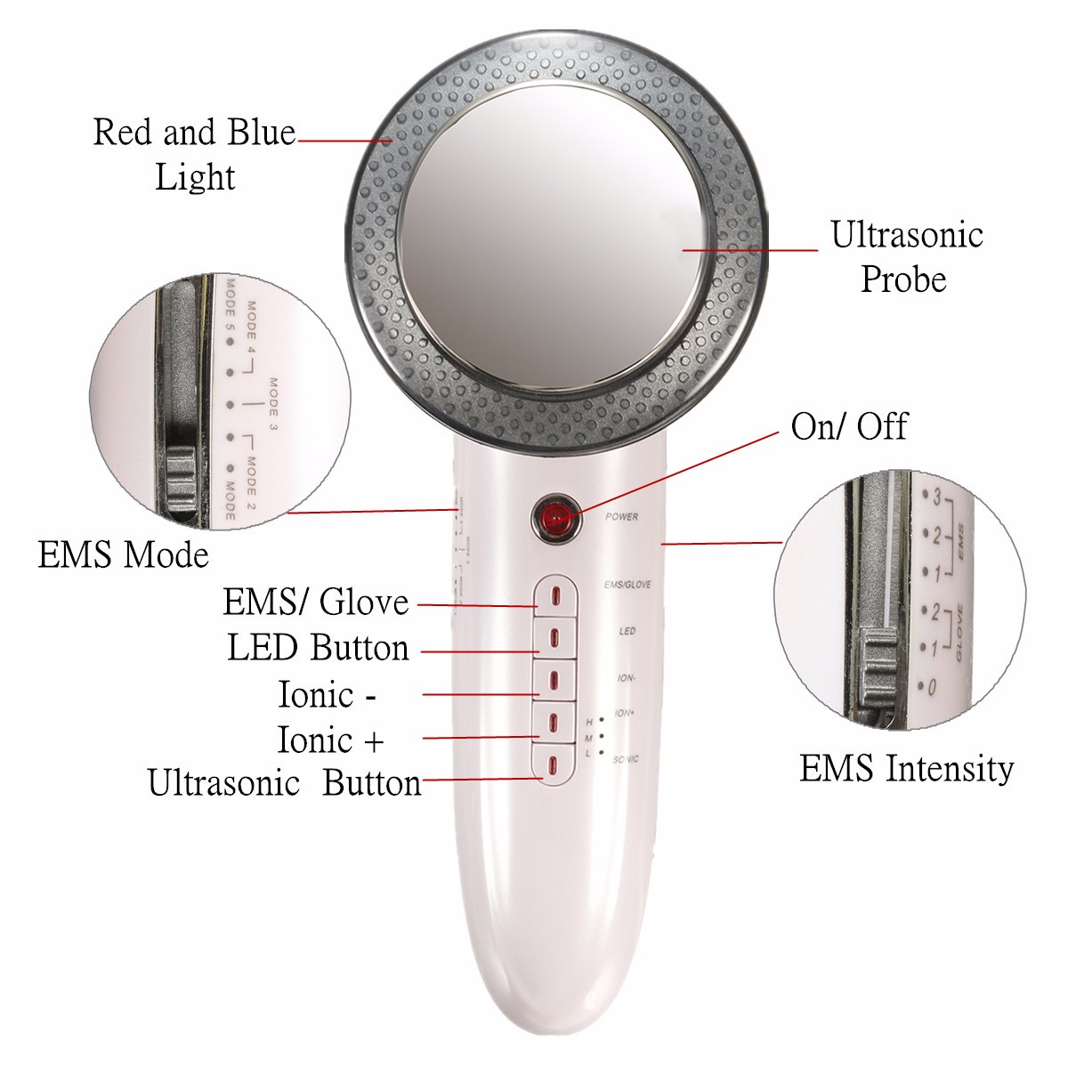 6 in 1 Ultrasonic LED Facial Care Body Slimming Massager Anti-fatigue Anti-cellulite Machine