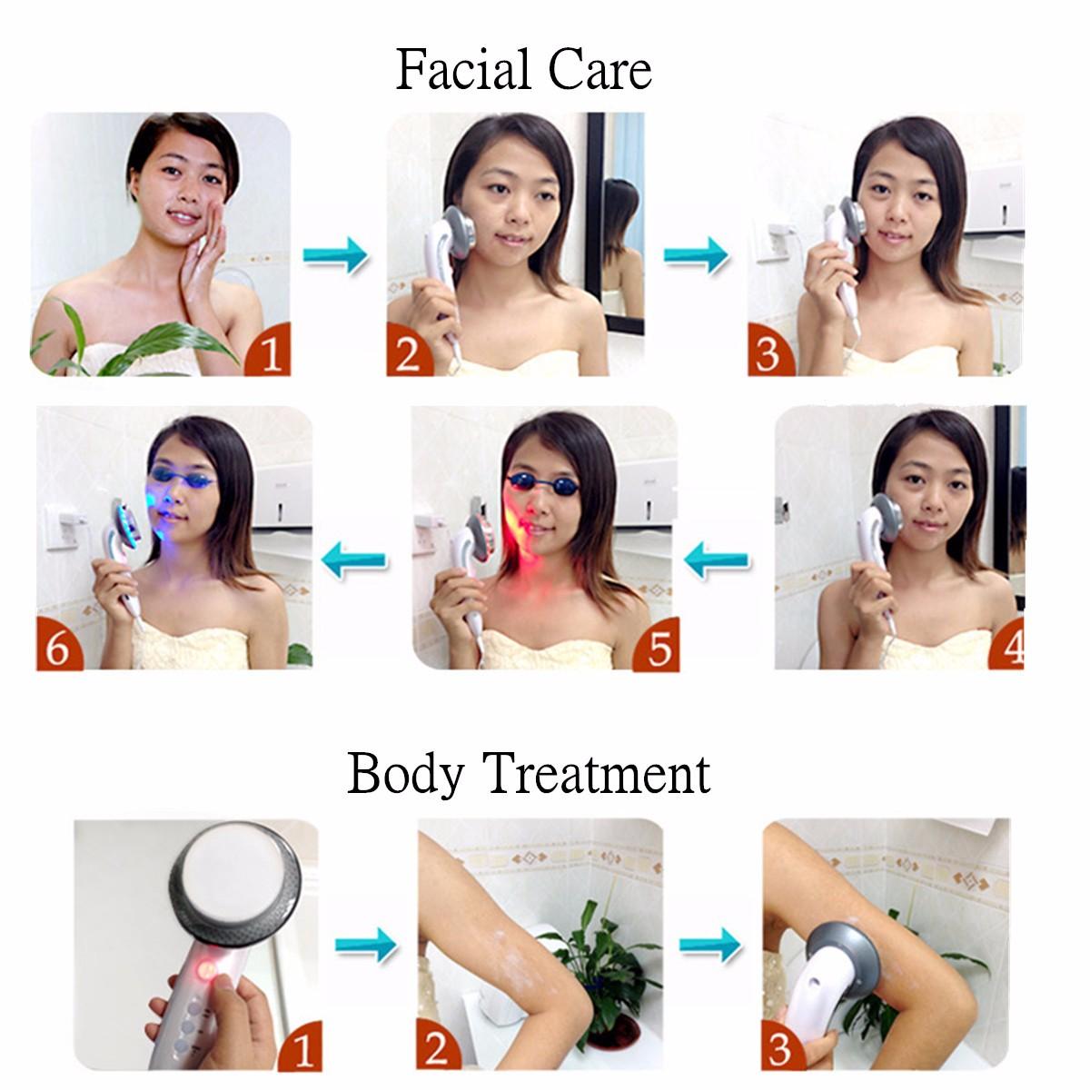 6 in 1 Ultrasonic LED Facial Care Body Slimming Massager Anti-fatigue Anti-cellulite Machine