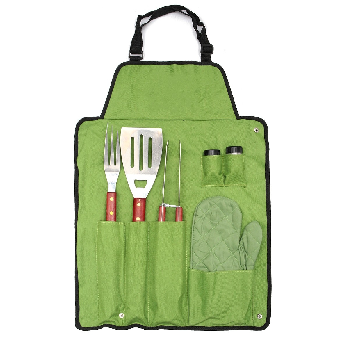 7Pcs Outdoor BBQ Barbecue Picnic Tableware Utensil Set Roll Up Portable Bag Tools