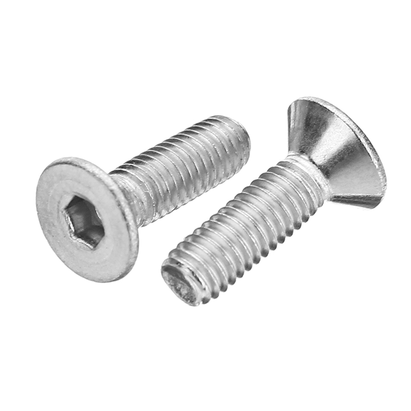 Suleve™ M3SH7 50Pcs M3 Stainless Steel Hex Socket Flat Head Countersunk Screws Bolts 4-12mm Length