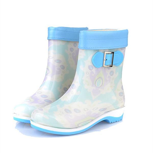 New Women Rain Boots Casual Keep Warm Fashion Flat Comfortable Non-Slip Slip-On Rain Boots