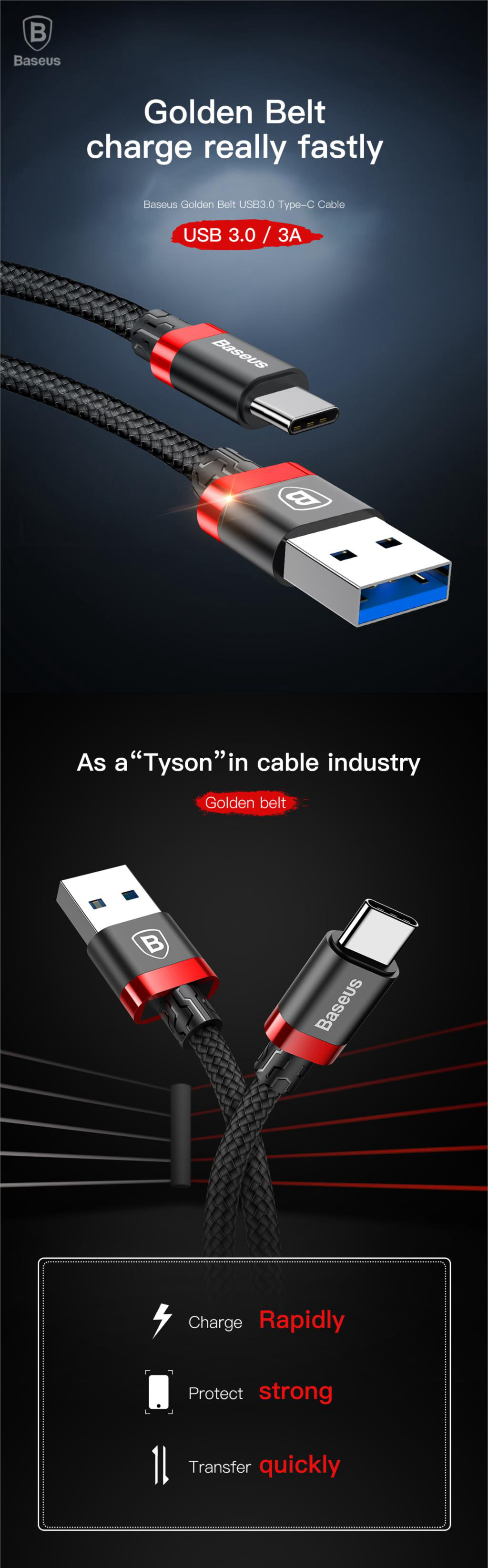 Baseus 3A USB3.0 Type C Braided Fast Charging Data Cable 1m For Oneplus 6 Xiaomi Mi8 Mix 2s S9+
