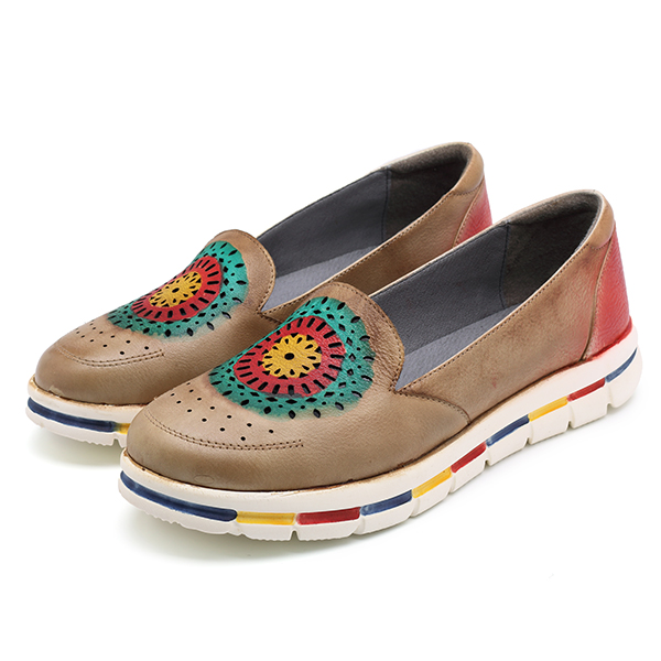 SOCOFY Leather Handmade Flat Shoes