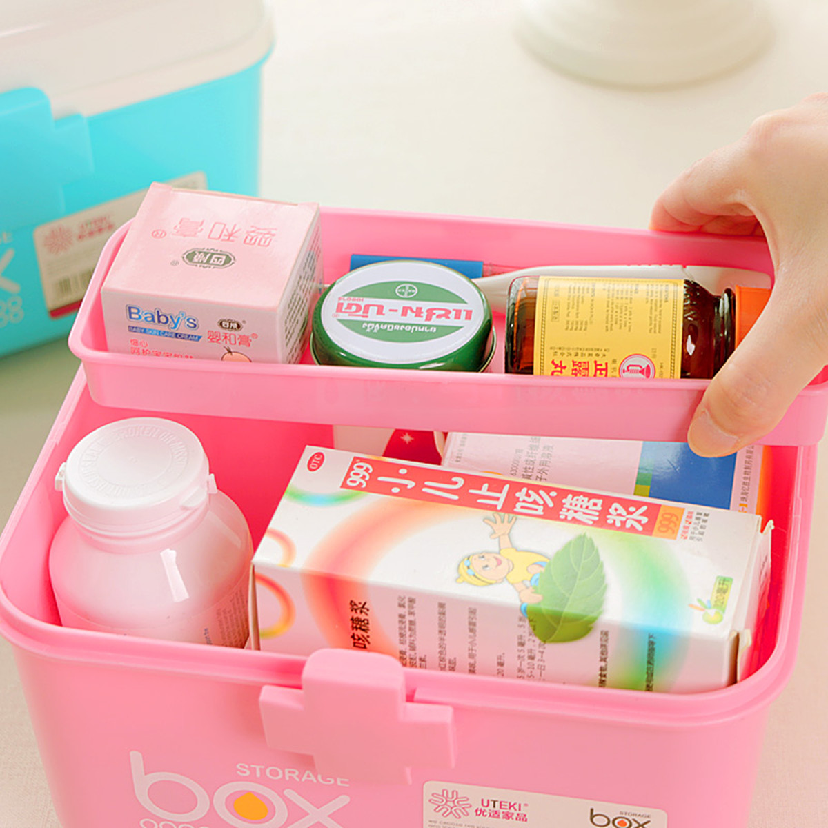 2 Layers Plastic First Aid Kit Case Storage Box for Pill Medicine Drug Bottle Accessories