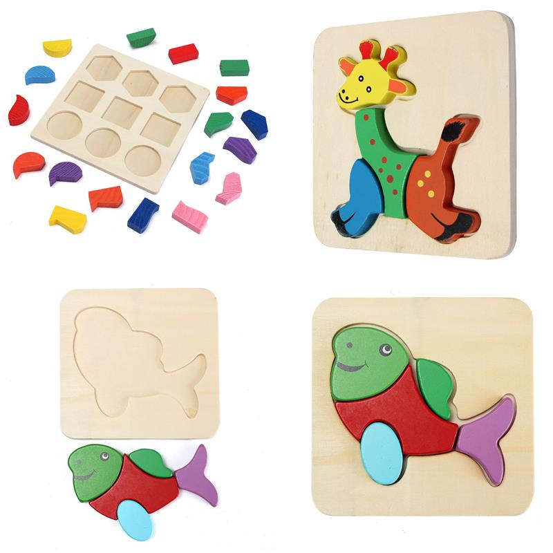 Wooden Block Puzzle Educational Toy Kids Music Math Study With Joy Gift