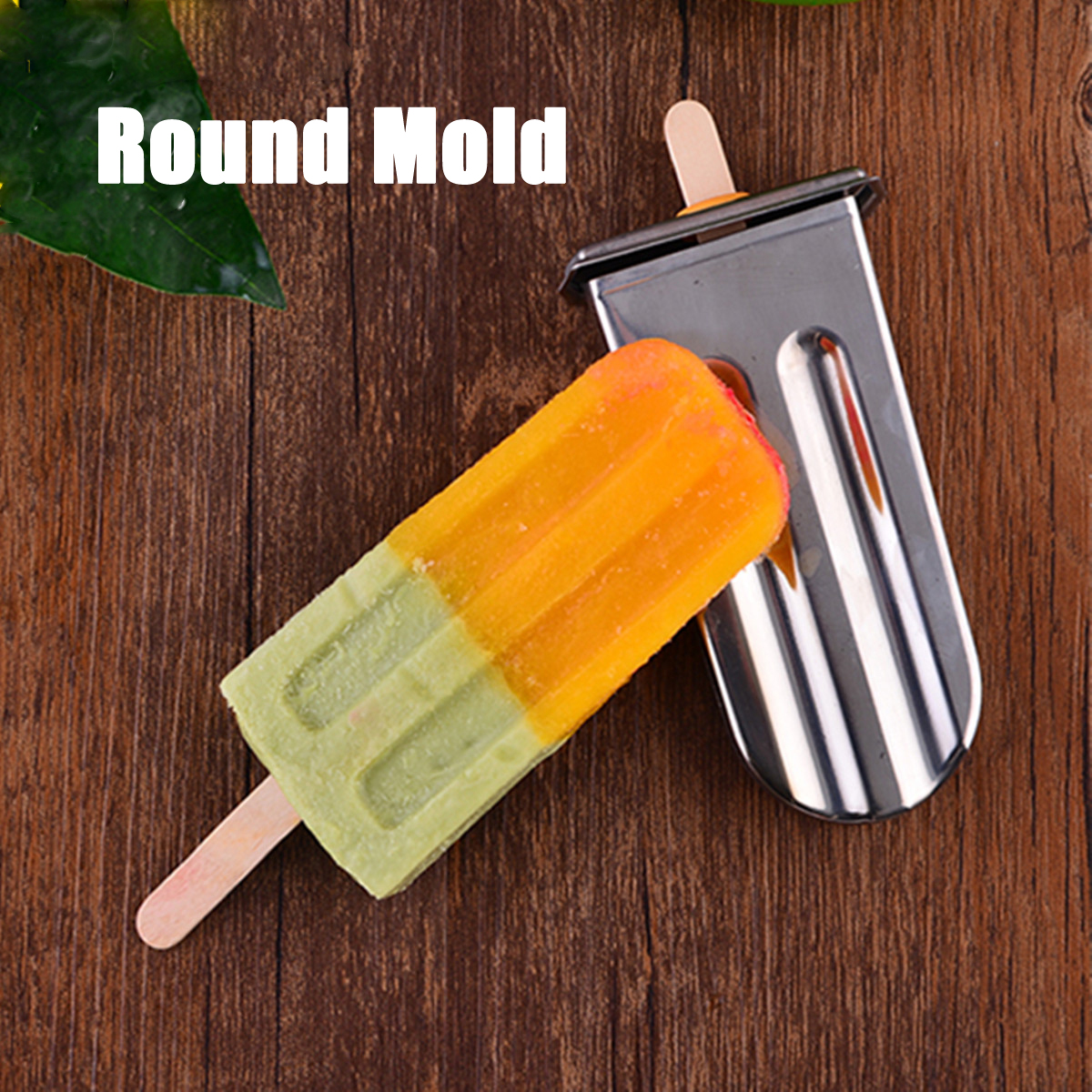 Flat/Round Stainless Steel 6 Cavity Ice Cream Pop Maker Mold Mould Popsicle Stick Bar DIY Holder