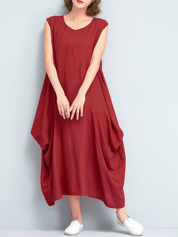 Women Cotton Solid Dolman Sleeveless Draped Dress