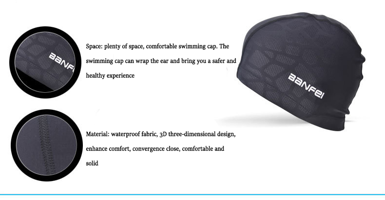 Banfei Summer Swimming Cap Nylon High Elasticity Waterproof Comfortable Water Sports Diving Swim Cap