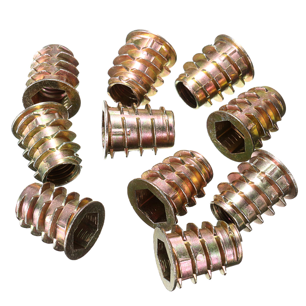 10Pcs M4 M5 M6 M8 M10 Type D Hex Drive Screw In Threaded Insert Bushings For Wood D-Type Insert Nuts