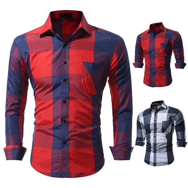 Mens Plaid Printing Slim Checked Button Up Fashion Designer Casual Shirt
