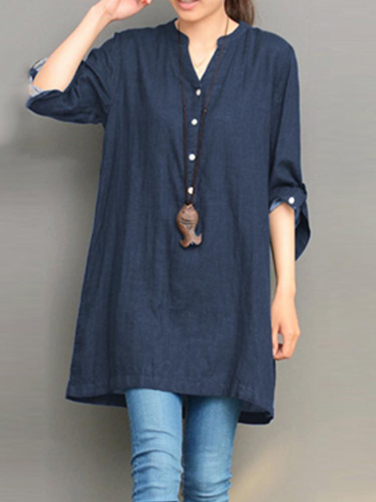 M-5XL Women V-neck Button Long Sleeve Denim Blouses