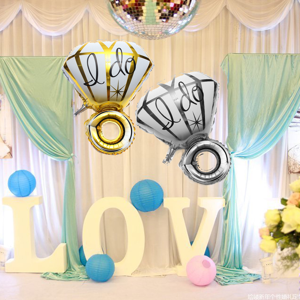 Big Diamon Ring Aluminum Foil Balloon I DO Balloons Proposal Valentine Wedding Party Decoration