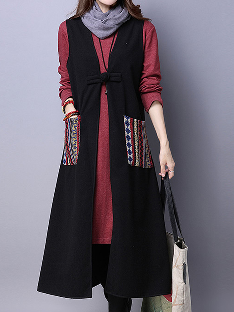 Vintage Women Patchwork Pocket Slim Long Vest Coat