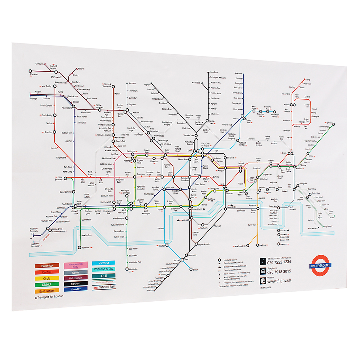 35x23 Inches London Underground Metro Map Retro Wall Art Silk Poster Home Decor