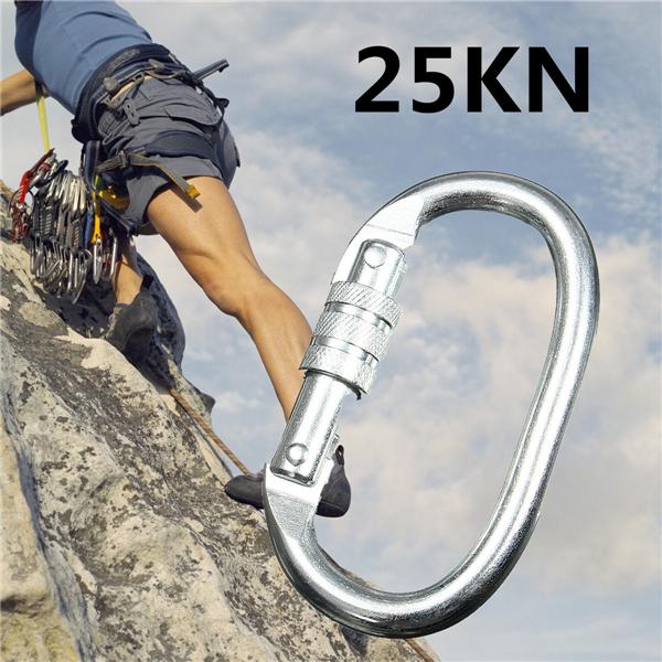 25KN Carabiner Buckle Mountain Clambing Lock Safe Quick O-Ring Tool