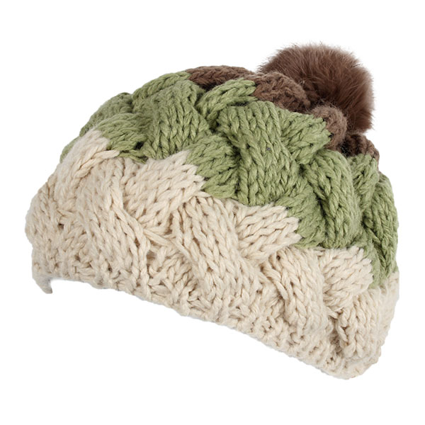 Women Female Knitted Flat Rabbit Fur Ball Beanie Hat Adjustable Elastic Beret Cap