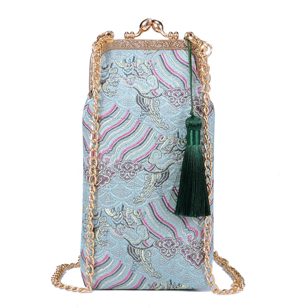 Brenice Women National Tassel Mini Chain Bag
