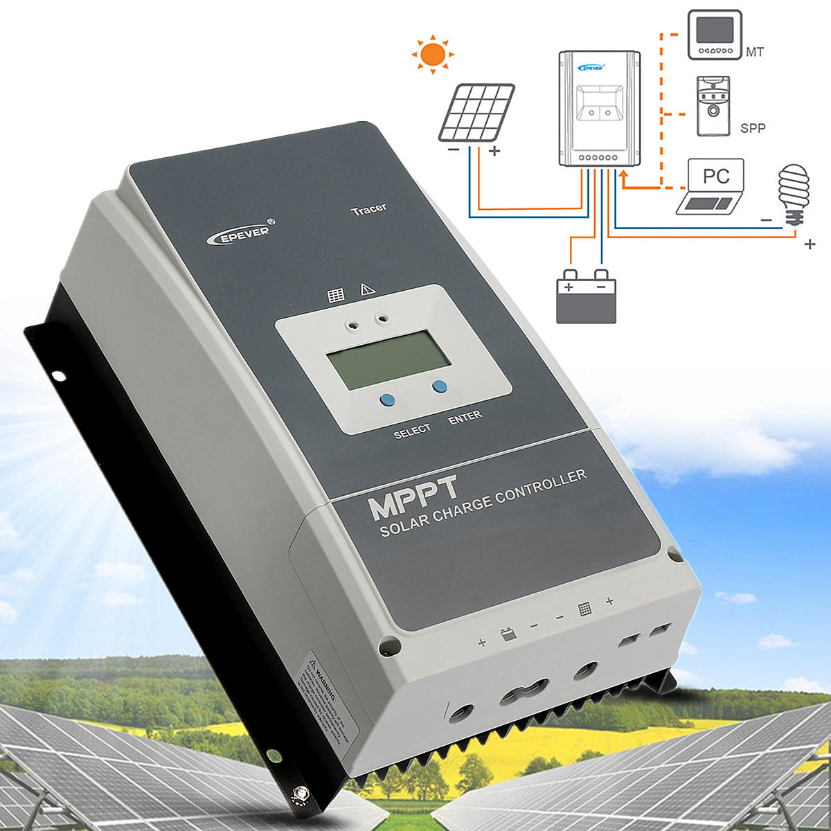 EPEVER Tracer MPPT 60A 150V LCD Display Solar Charge Controller Battery Regulator