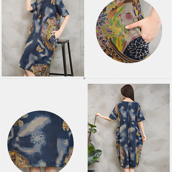 Chinese Style Women Floral Printed Pockets Short Sleeve Vintage Dresses
