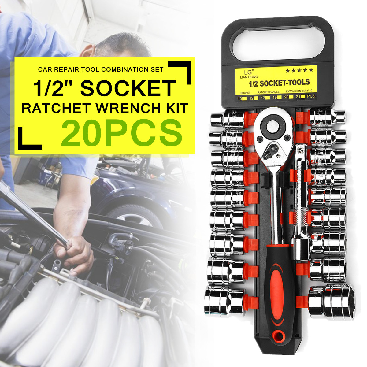 20pcs 1/2 Inch Ratcheting Socket Wrench Set Quick Release Reversible Wrench Repair Tool