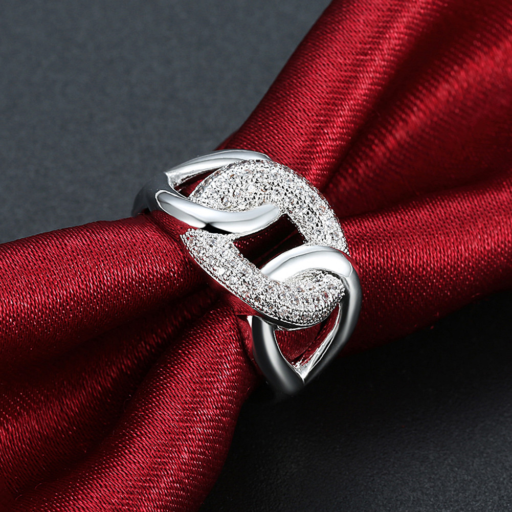 INALIS Zircon Across Platinum Gift Party Wedding Finger Rings