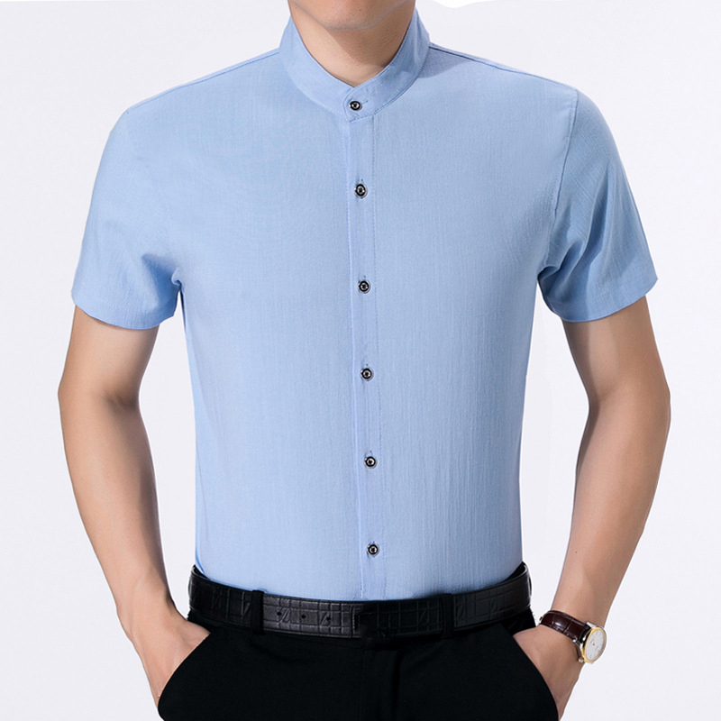 Summer Soft Comfy Cotton Band Collar Short Sleeve Shirts for