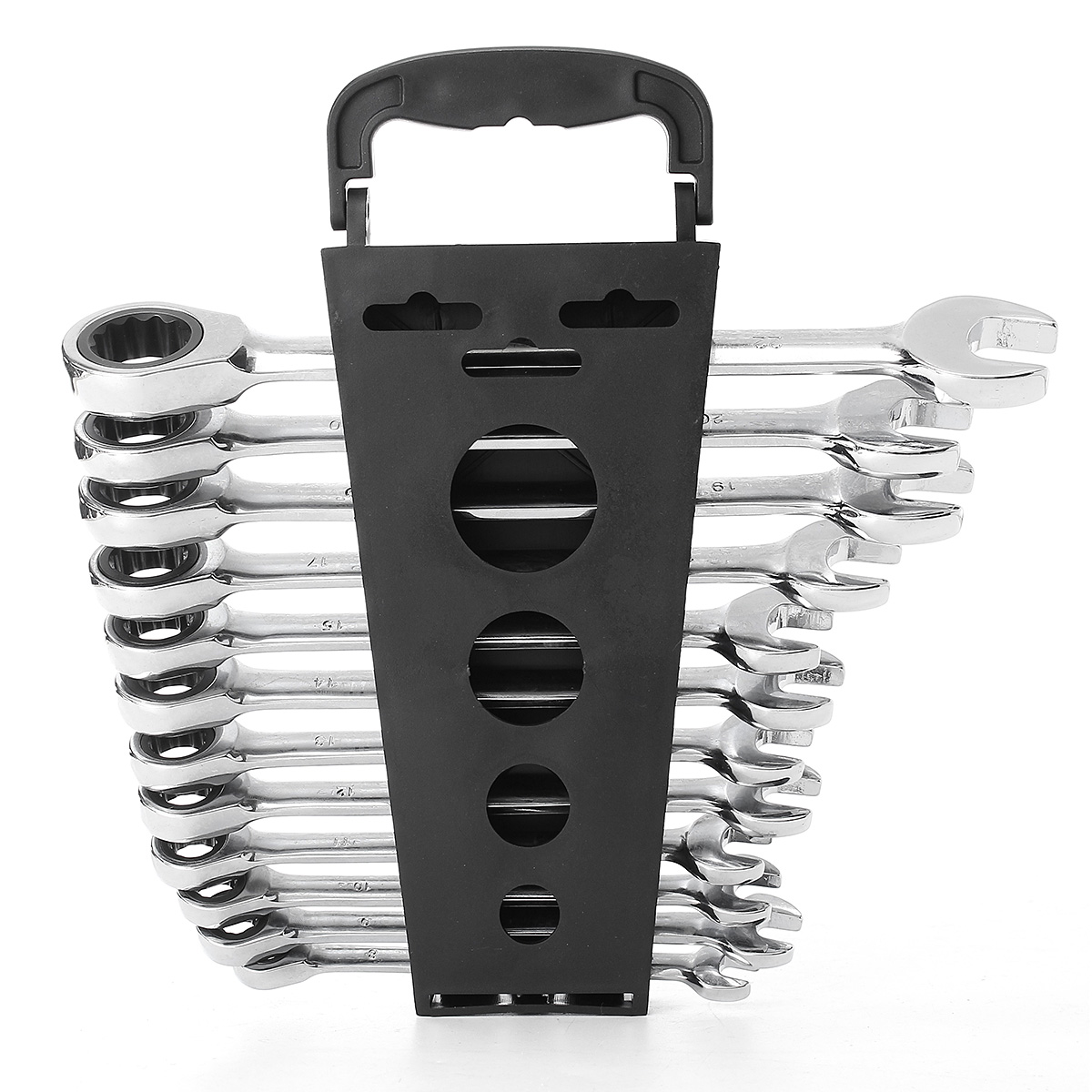 12Pcs 45# Steel CRV Reversible Combination Ratcheting Wrench Spanner Set