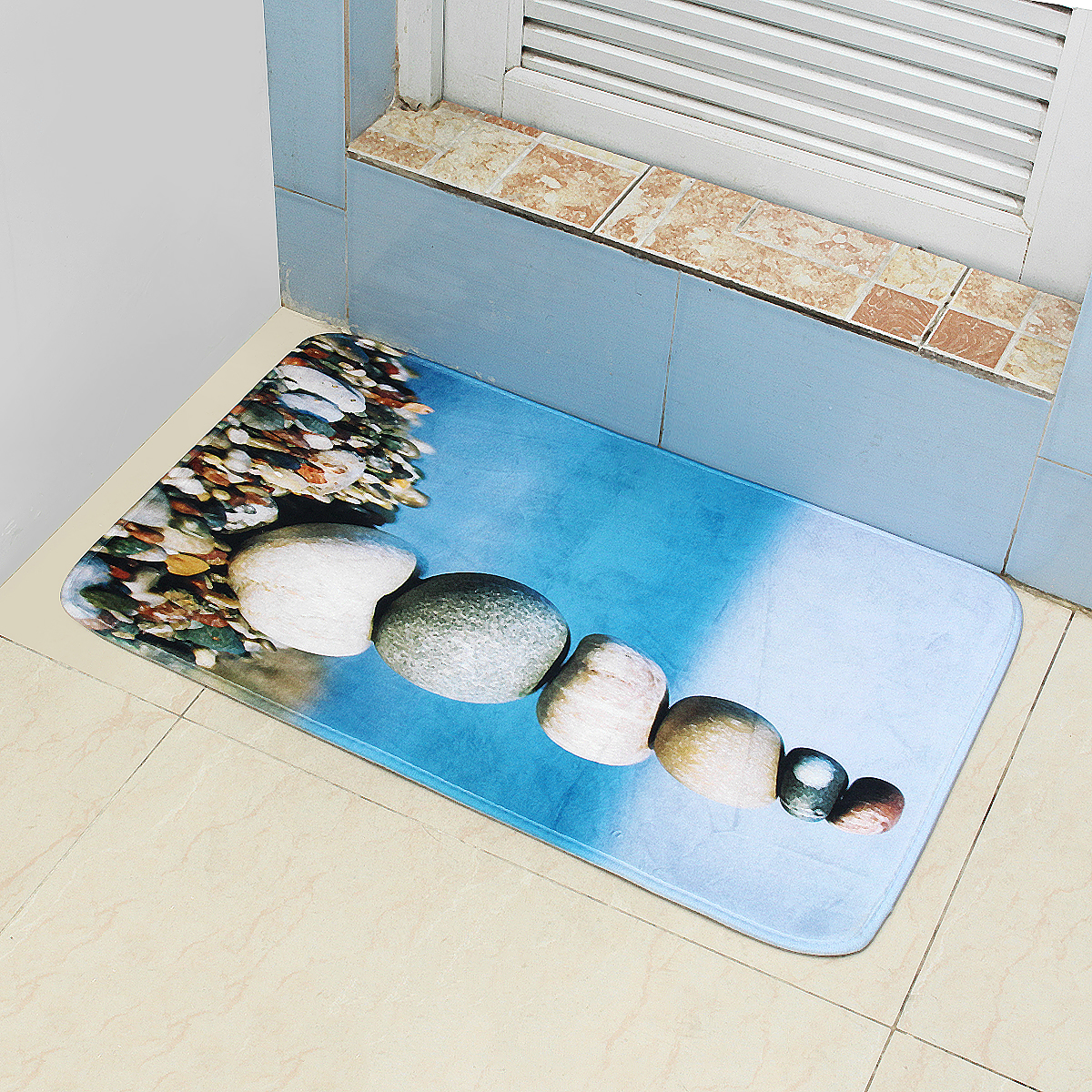 45*75cm Bathroom Shower Bath Mat Non Slip Back Carpet Mat Toilet Rug Stone Design