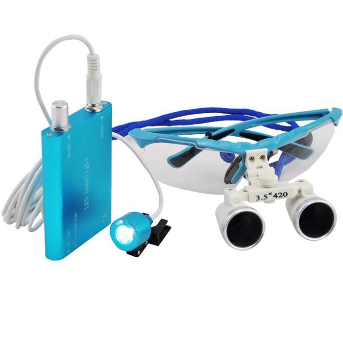 Kính Lúp Phẫu Thuật Nha Khoa 3,5X420Mm Kính Lúp Hai Mắt Với Đèn Led Head Light
