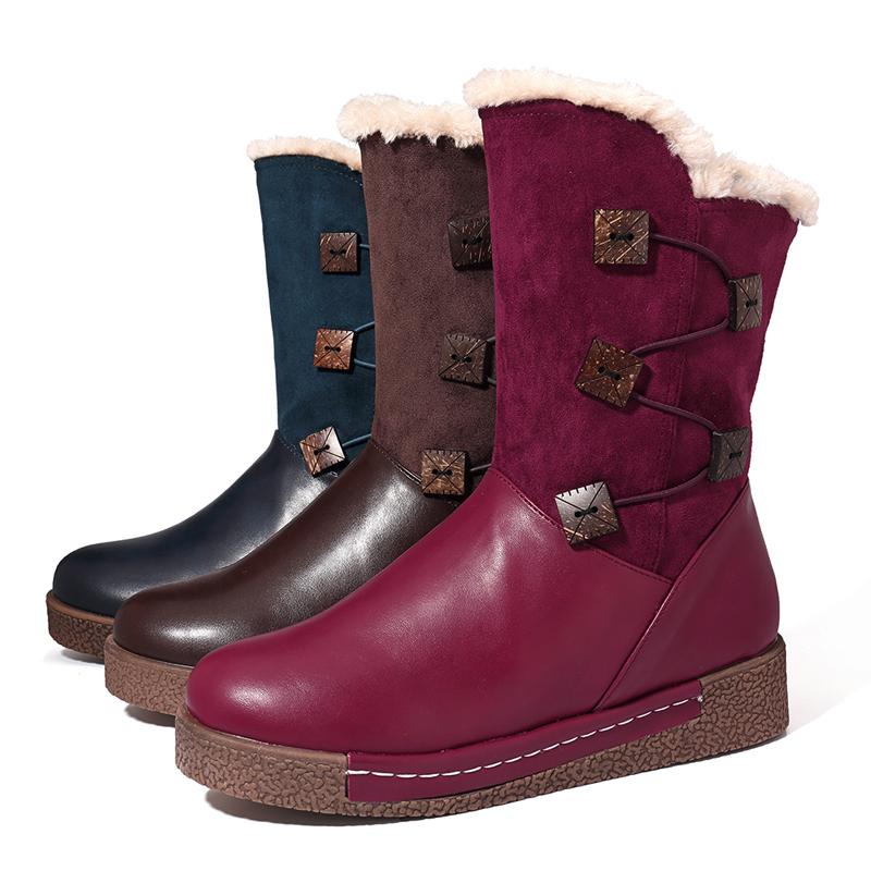 LOSTISY Women's Winter Warm Buckle Zipper Snow Boots
