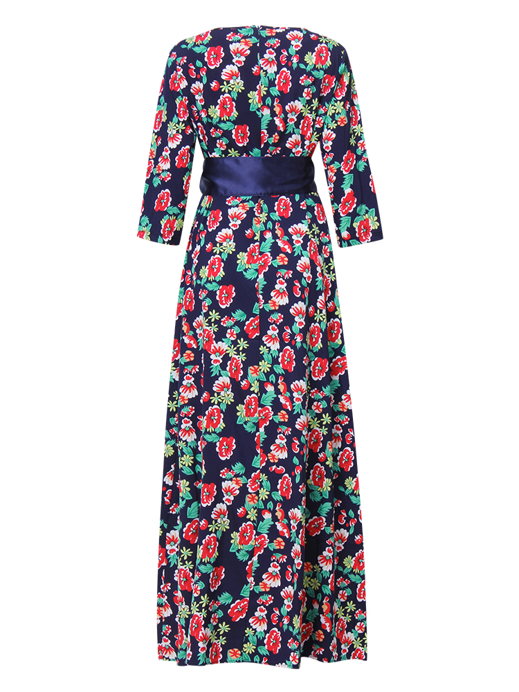 Elegant Women Floral Printed 3/4 Sleeve Maxi Dress With Belt