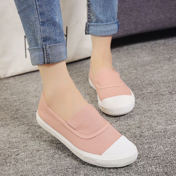 Blocking Canvas Slip On Casual Flat Shoes