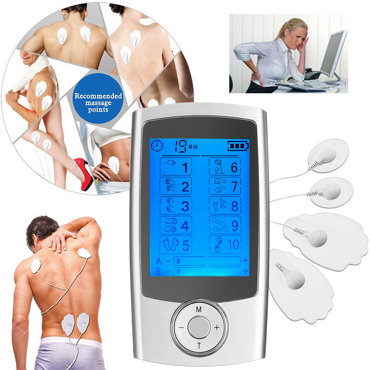 TENS Unit 10 Modes AB Electrotherapy Device Pulse
