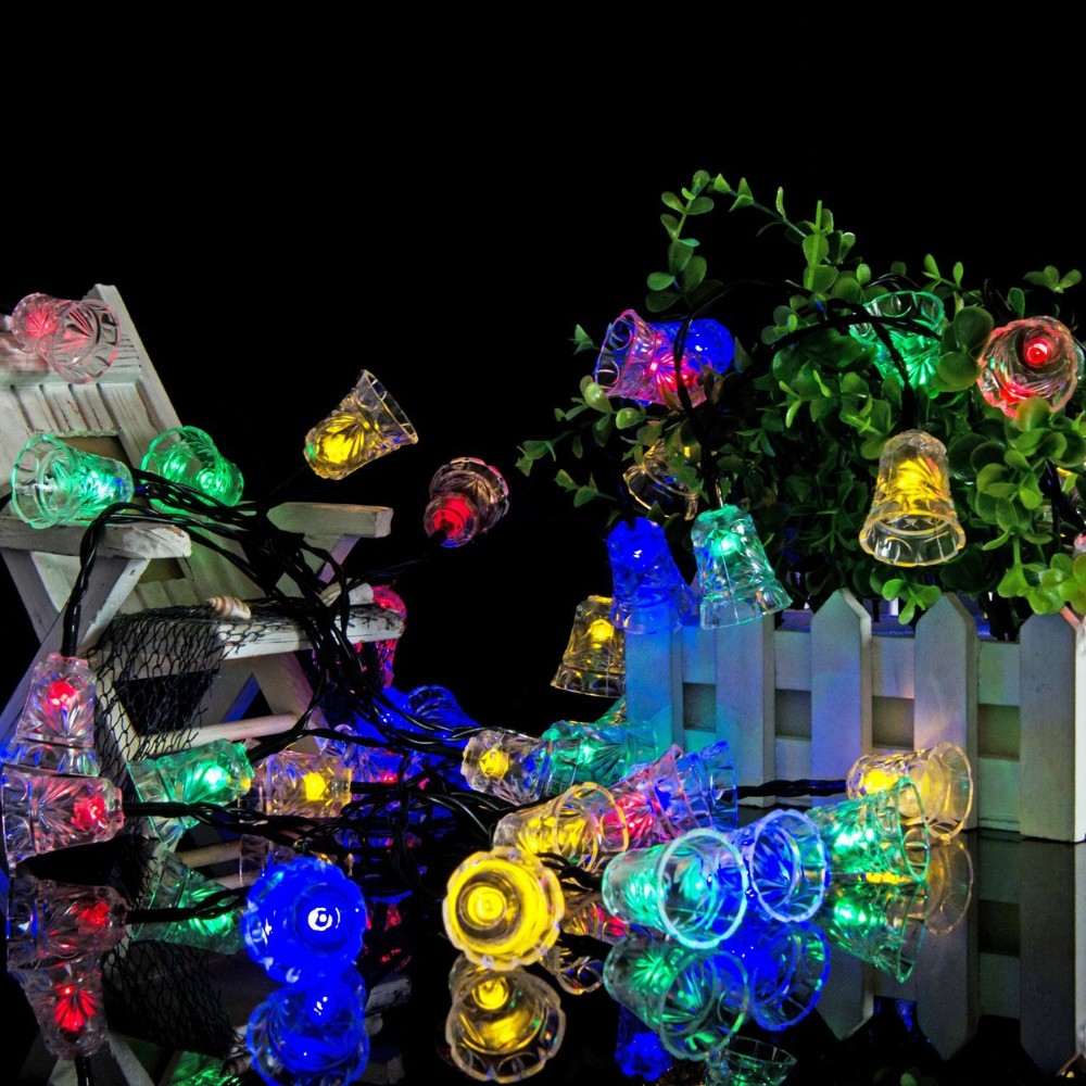 2M 20 LEDs Festival Battery Powered Bells String Lights Christmas Party Outdoor Indoor Decorations Christmas Bell Festoon Light Waterproof Garden Christmas Tree Decoration Outdoor Night String light