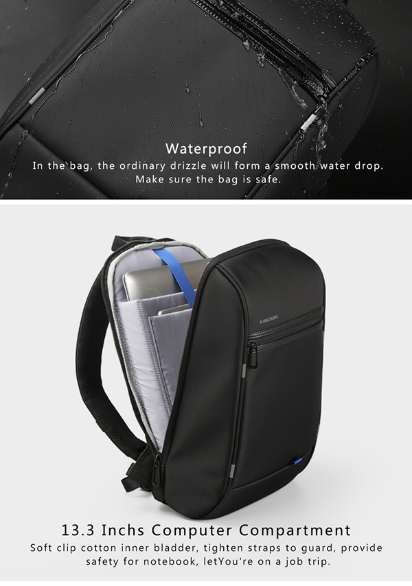 Men Waterproof Laptop Chest Bag with USB Charging Port